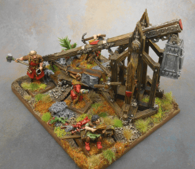 Bretonnian Trebuchet on scenic base