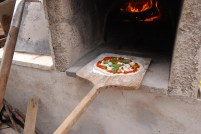 Pizza going in!