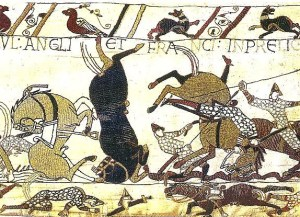 Bayeux Tapestry Horses in Battle of Hastings 300x2171 Of Fyrdmen and Shields