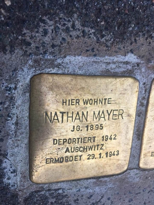 Nathan Mayer Stolperstein, Stepping stones presentation, a Jewish and Holocaust remembrance