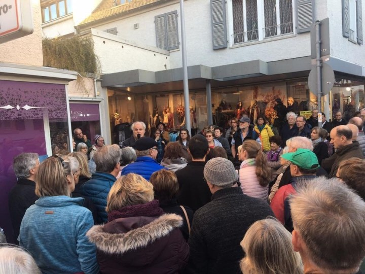 Gathering of presentation Stolpersteine, Stepping stones presentation, a Jewish and Holocaust remembrance