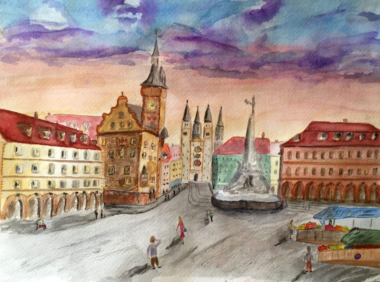Wuerzburg Vierrohrenbrunnen painting