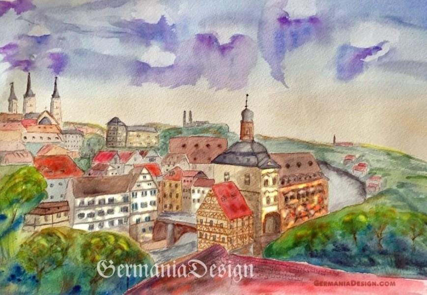 Bamberg painting, Angie's Watercolor GermaniaDesign
