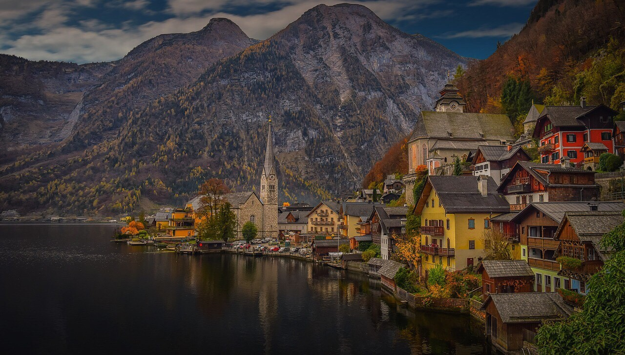Hallstatt, Austria, evening view