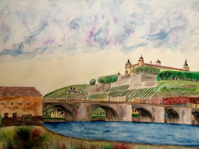Würzburg Watercolor painting by GermaniaDesign.com