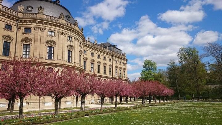 Blooming trees in Wuerzburg Residenz gardens, Franconia, Bavaria