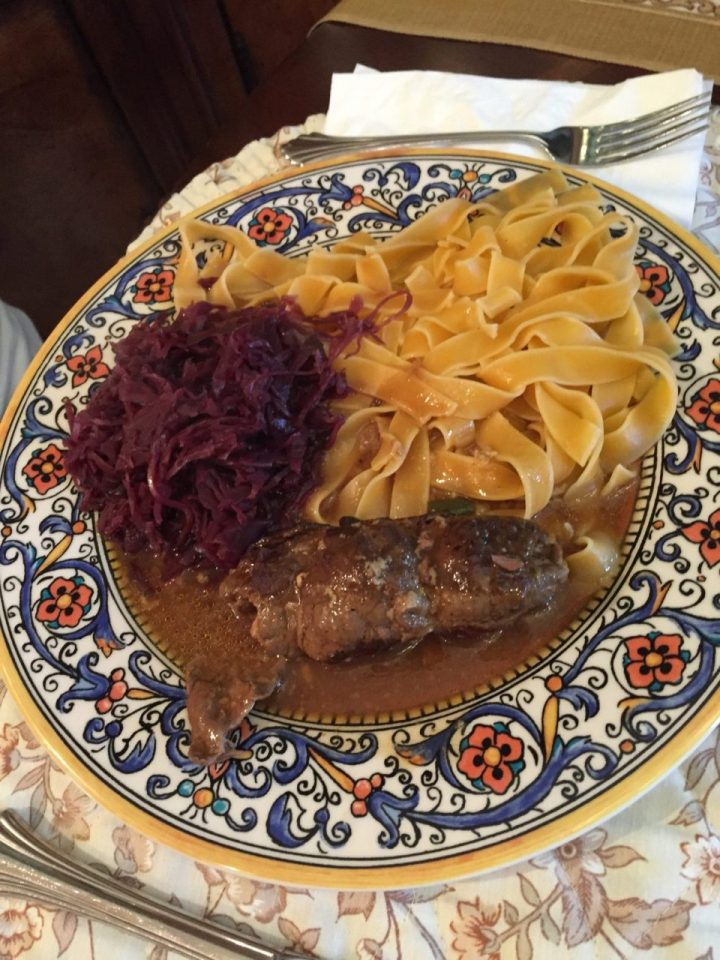 German Beef Rouladen with wide noodles