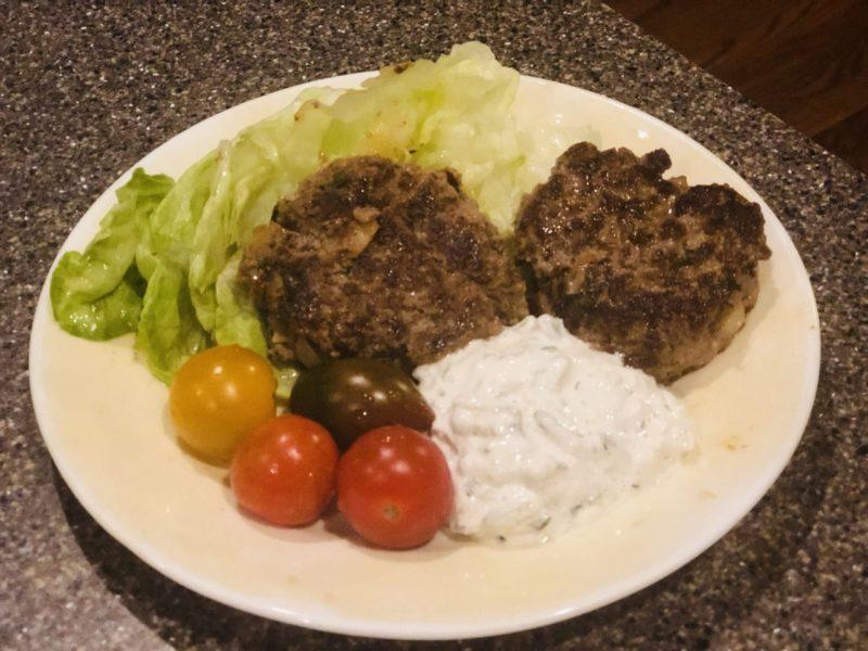 Bifteki, Greek Beef steaks, filled with goat cheese meat patties