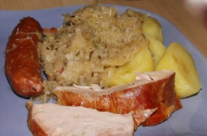 Pork with Sauerkraut, Smoked Meats plate