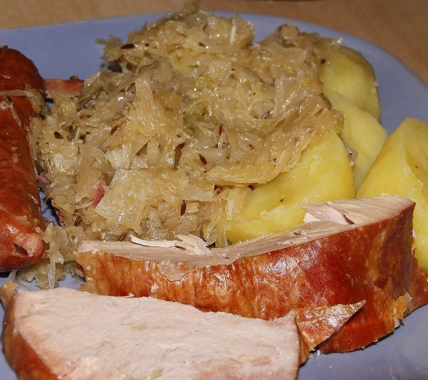 Pork with Sauerkraut, Smoked Meats plate