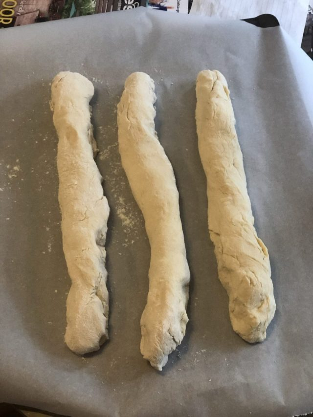 forming Easter bread, sweet yeast bread dough