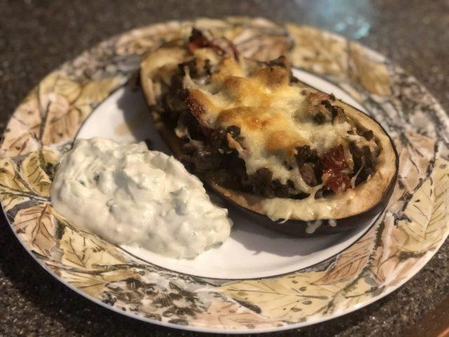 Auberginen Boote, a Greek dish