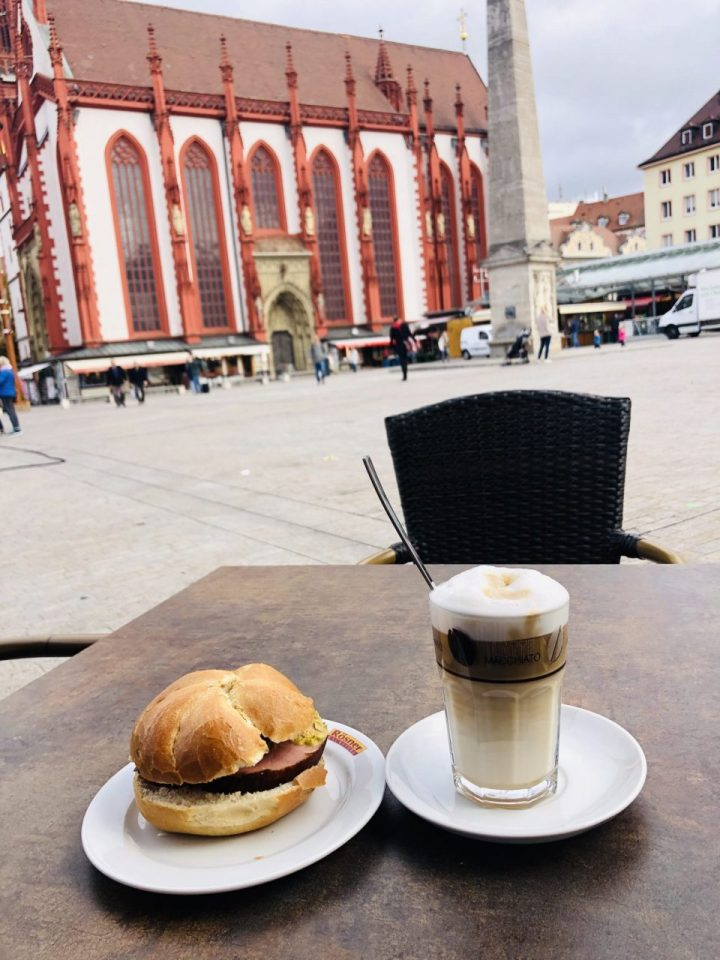 Leberkaese with Broetchen, German meatloaf,