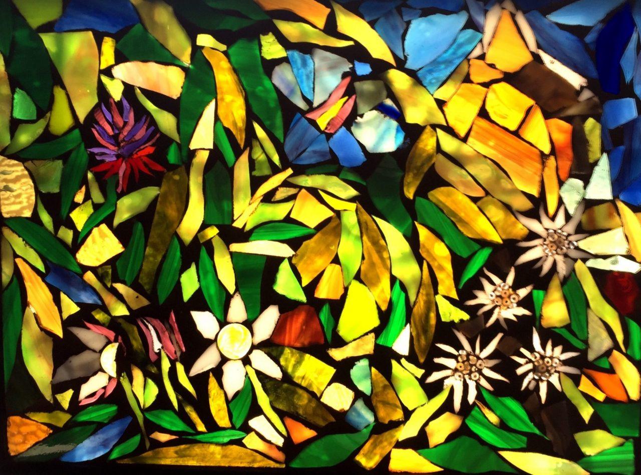 Angie's Glass Mosaic Alpine Flowers