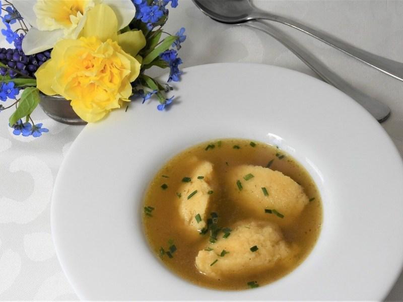 Austrian Griessnockerl soup