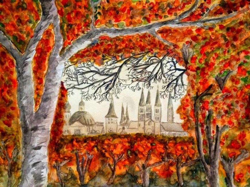 Autumn in Wuerzburg painting GermaniaDesign.com