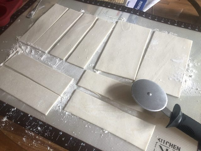 Puff pastry dough cut in strips