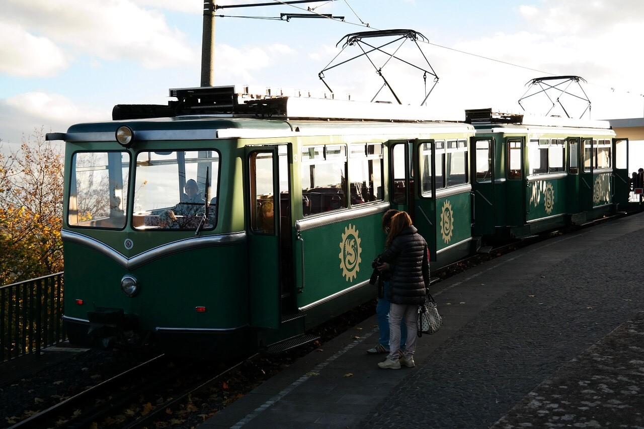Drachenburg Castle, Königswinter view to Rhine valley trolley train