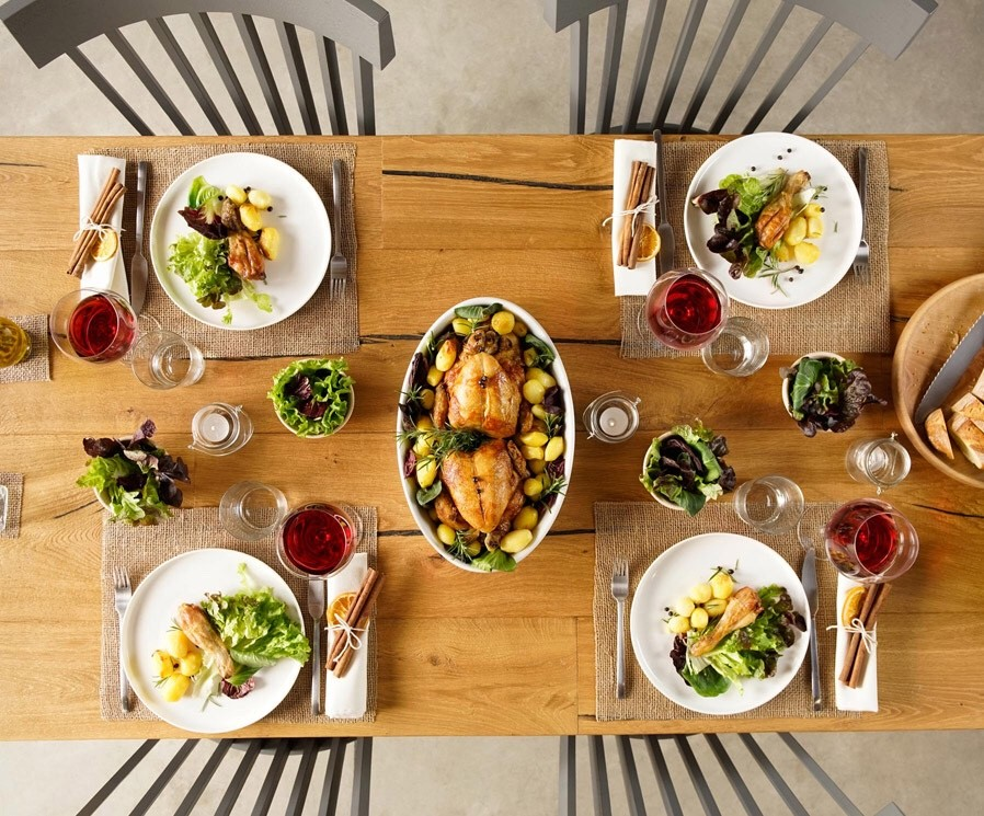 Cornish hens dinner table