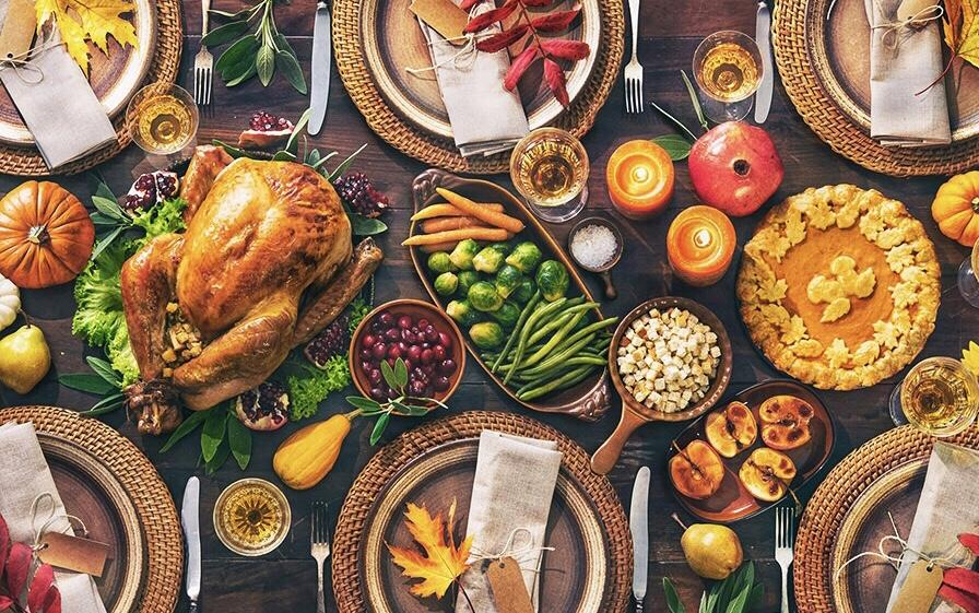 Thanksgiving table, chicken stuffing