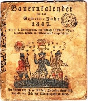 Bauernkalender, German Almanac 1847