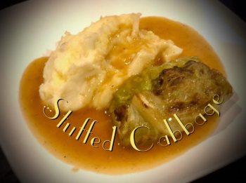 Stuffed Cabbage, Krautwickel, mashed potatoes