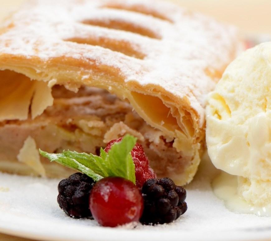 Apfelstrudel with vanilla ice cream