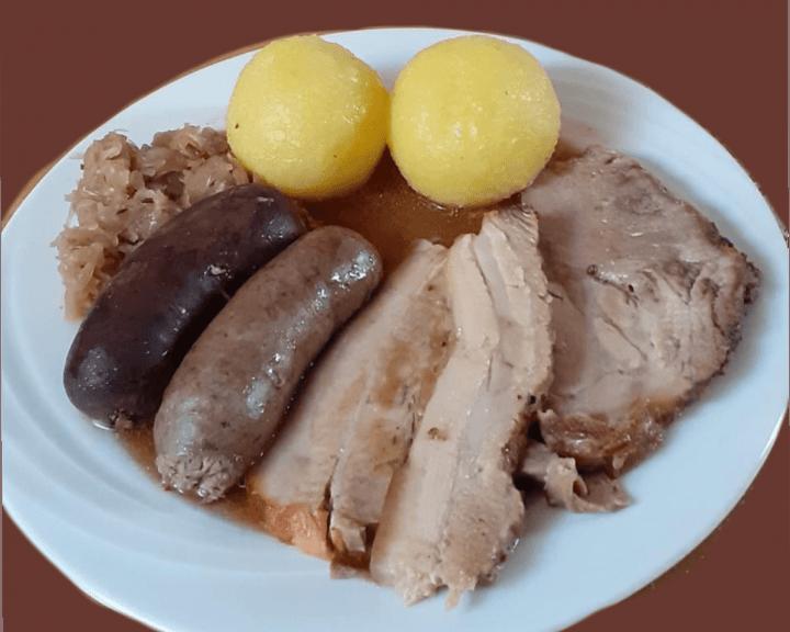 Wurstplatter with Sauerkraut, Smoked Meats plate