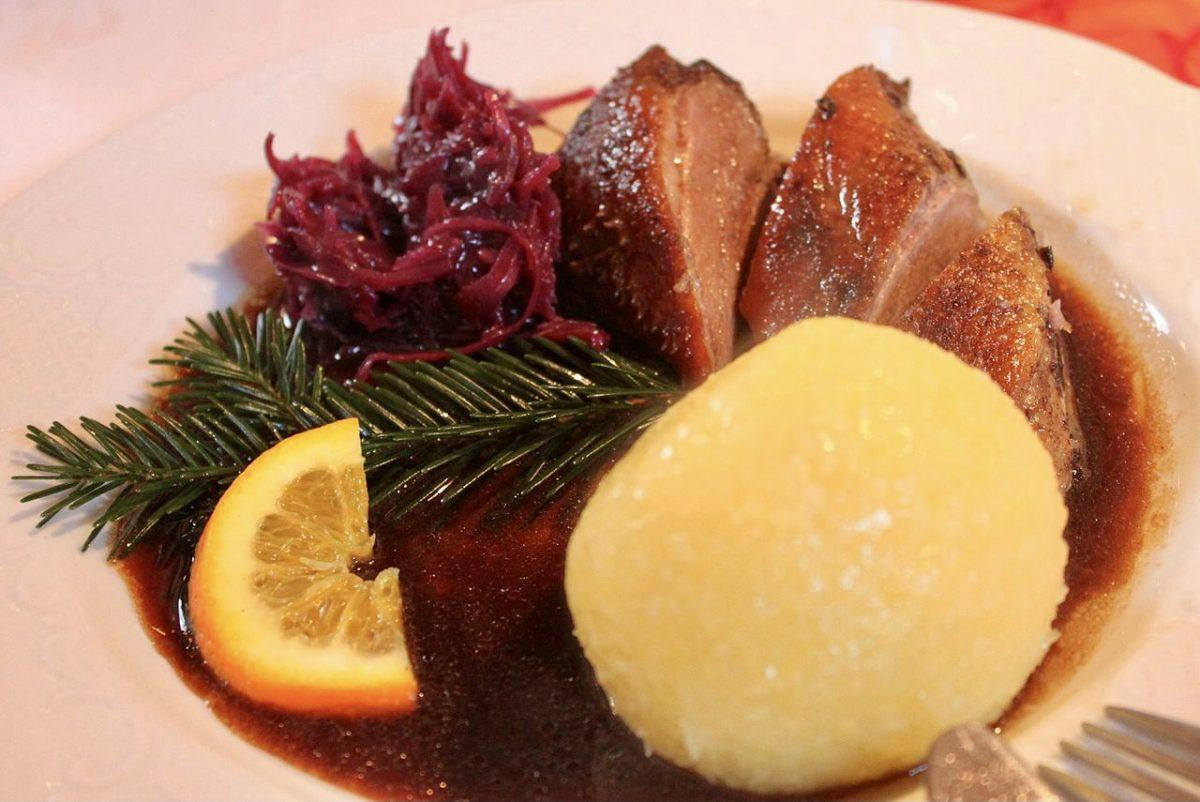 Goose with potato dumpling, red cabbage