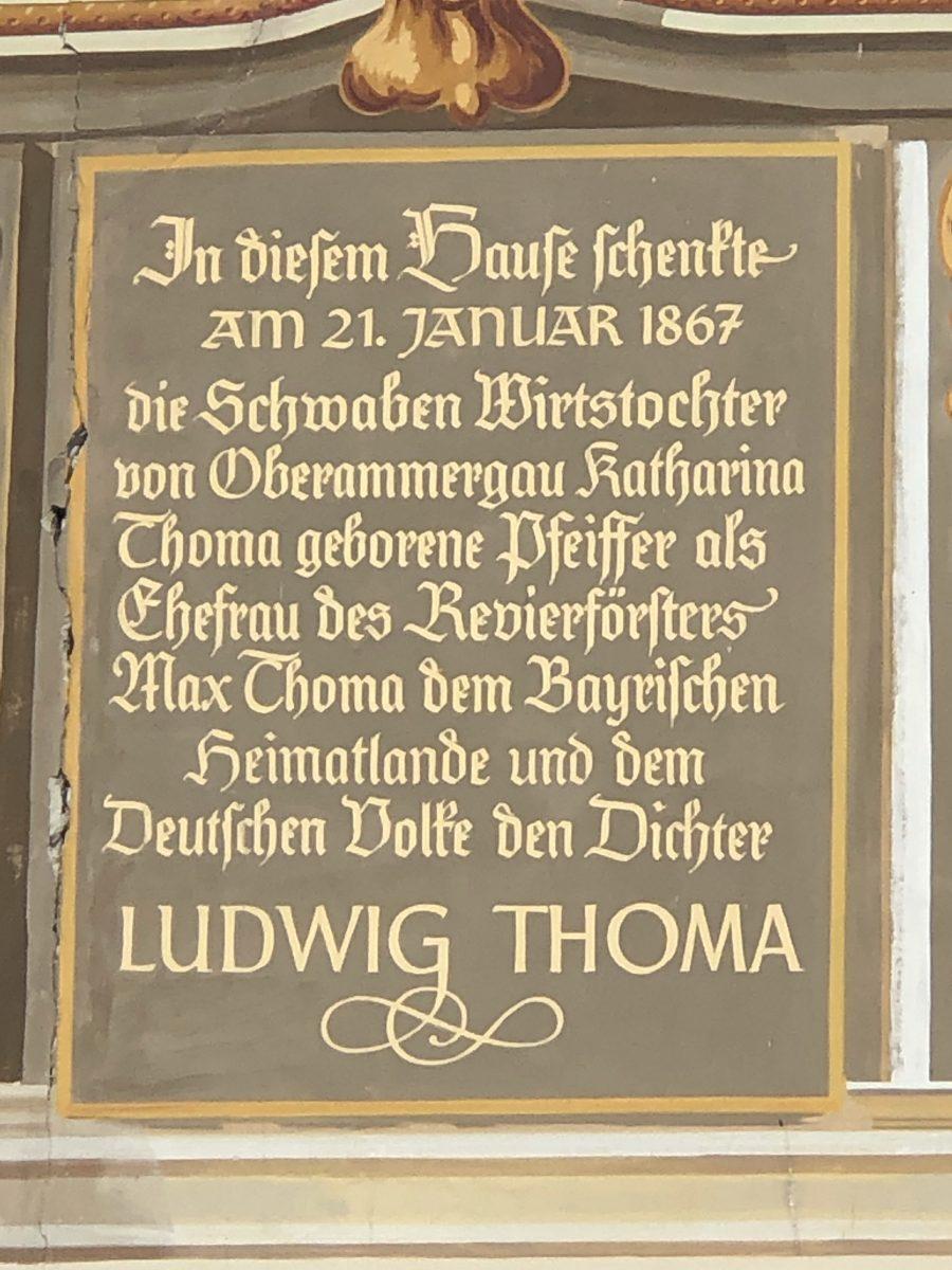 Ludwig Thoma Haus sign Oberammergau