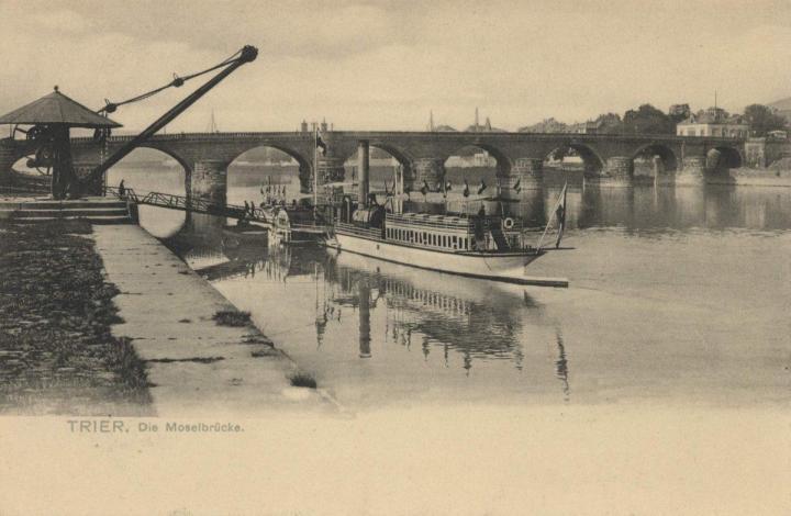Römerbrücke Ansichtskarte 1910 (per Wikimedia)
