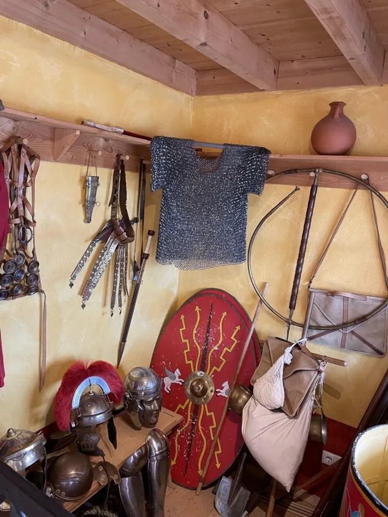 Roman castell life, clothing, roman weapons