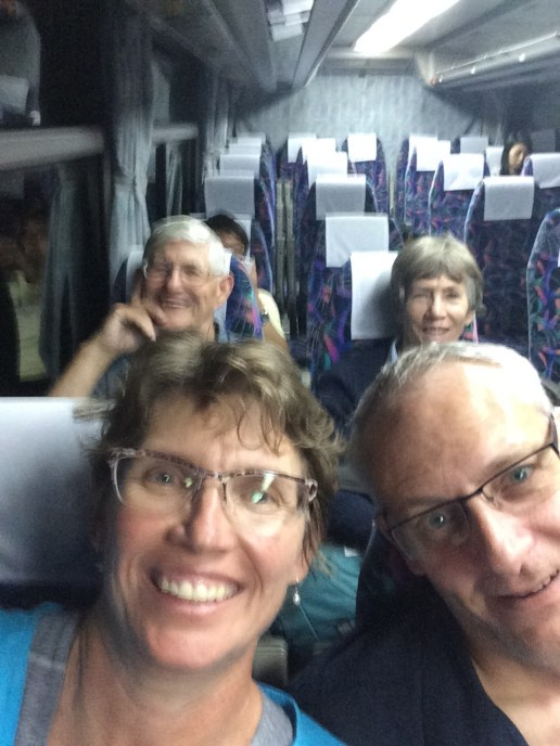 Our twenty four hour journey is almost over. After this bus ride into Hiroshima, we have a taxi ride to Clair Ushitahomachi #401.Not the greatest photo but we are riding the bus to Hiroshima.