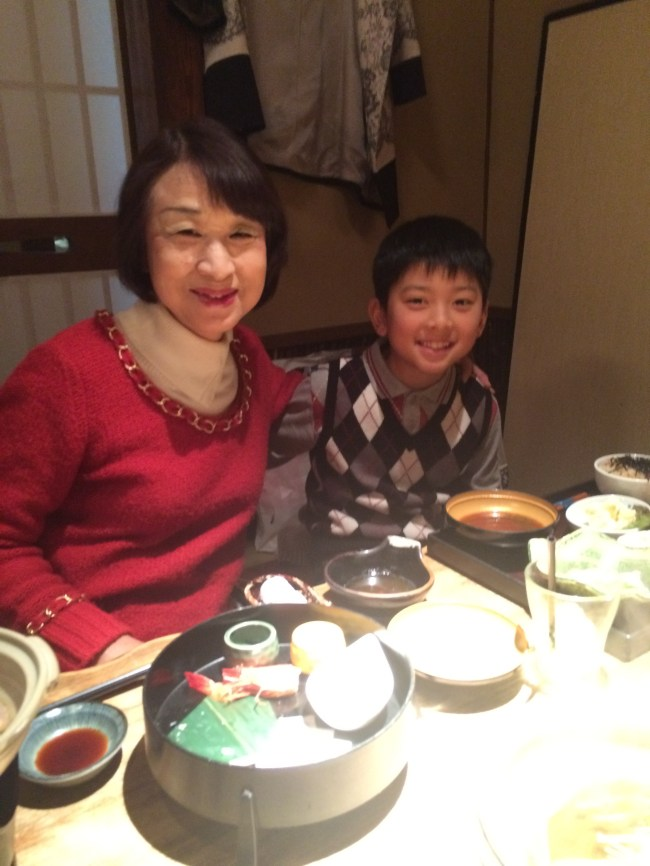 Emiko and her grandson