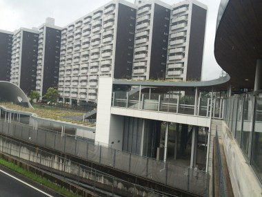 This is a different station but you get an idea. Those are apartment builidings.