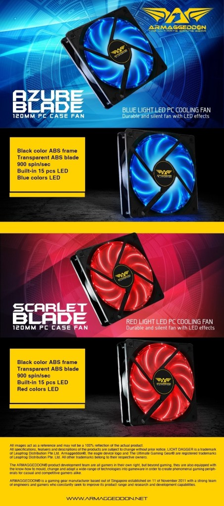 ARMAGGEDDON SCARLET BLADE RED LED 120mm PC CASE FAN – AngkorTech