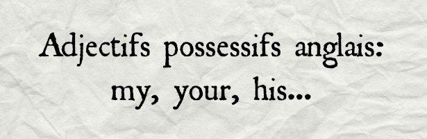 adjectifs possessifs anglais