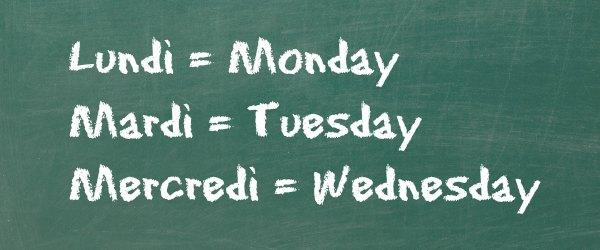 jour de la semaine en anglais