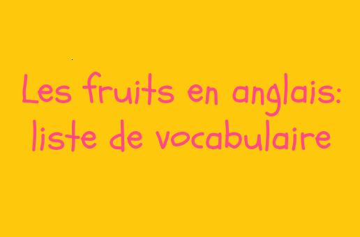 les fruits en anglais