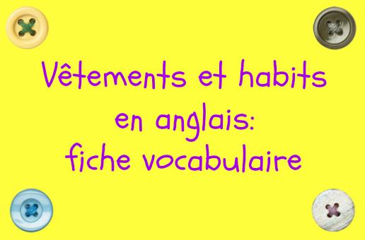 les vetements en anglais vocabulaire