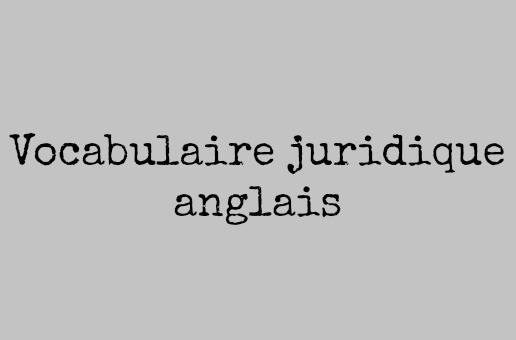 vocabulaire juridique anglais pdf