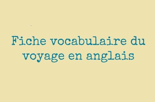 vocabulaire voyage anglais