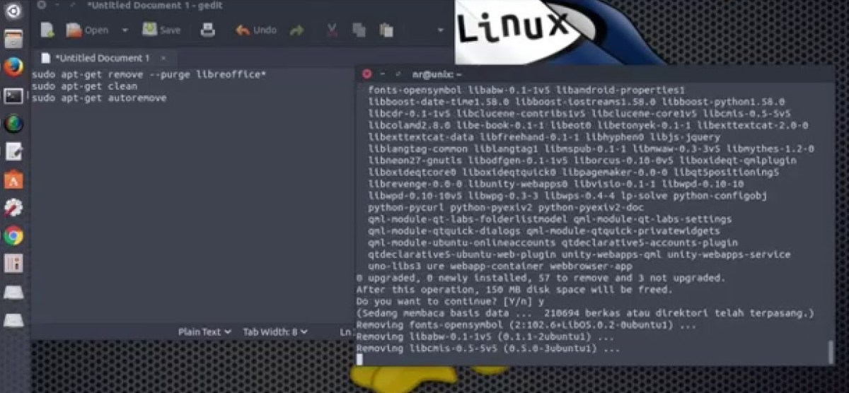 How to remove libreoffice from ubuntu Linux – the command