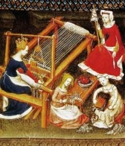 Women Carding, Combing and Weaving Wool (detail). Boccaccio. Le Livre des cléres et nobles femmes. MS Fr. 12420, fol. 71; French 1403. Bibliotèque Nationale, Paris.