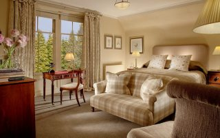 luxury bedroom during guided fly fishing in scotland