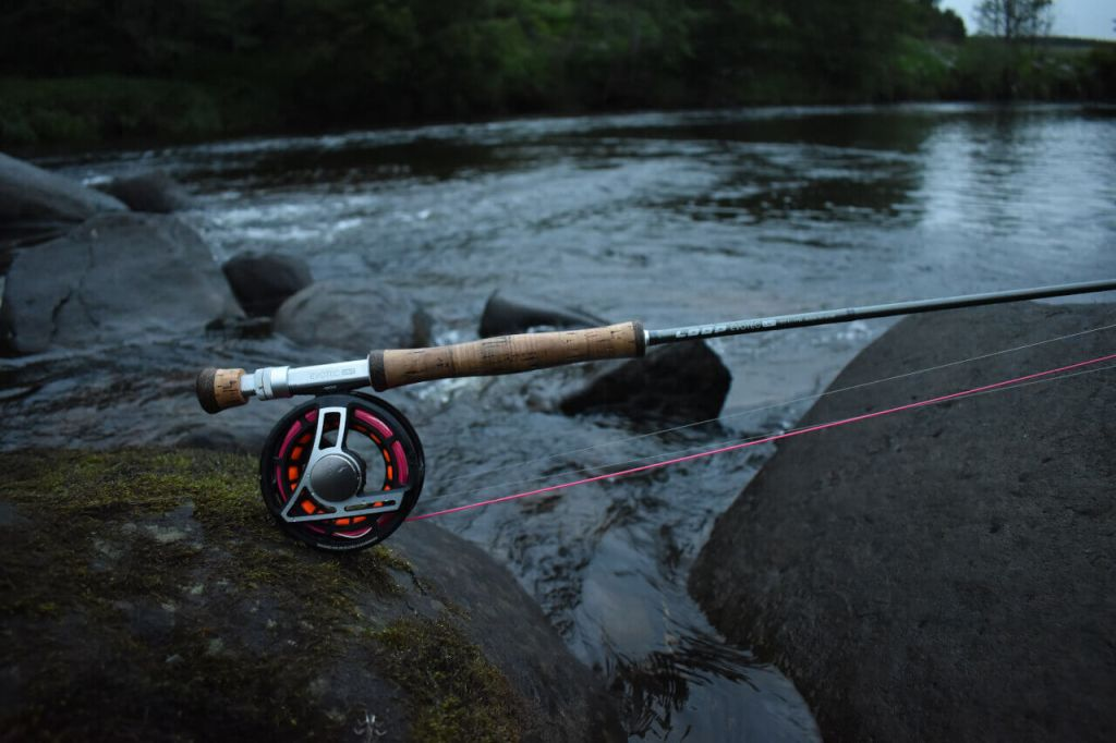 Fishing rod beside scottish river