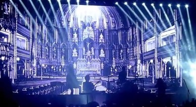 """an image of Notre Dame Cathedral's interior shown during """"If I Ever Feel Better + Funky Squaredance"""""""