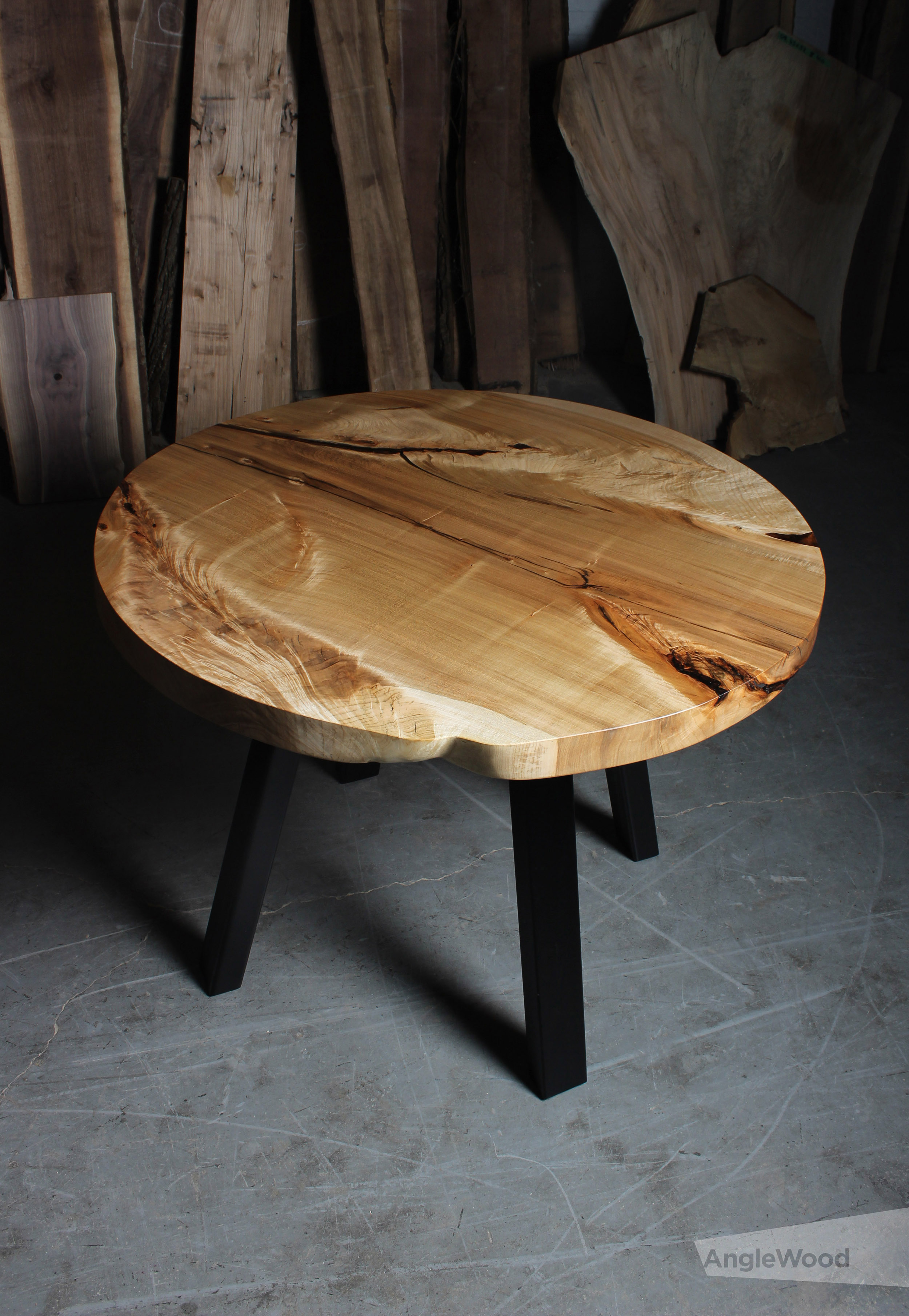 maple live edge round dining table