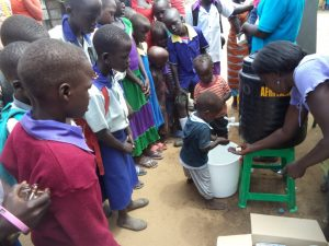 Sanitation training in Juba South Sudan with children