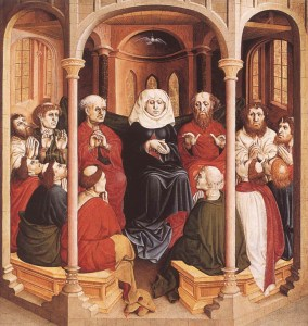 15  MULTSCHER, Hans  Pentecost 1437 Panel, 148 x 140 cm Staatliche Museen, Berlin   The third scene, the Feast of Pentecost, shows the Virgin and the Apostles in a chapel-like room. Above them is suspended the dove of the Holy Spirit, which is poured out over the faithful.    ....Web Gallery Of  Art